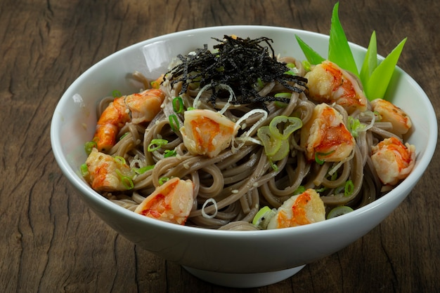 Soba noodles with shrimps and shoyu soy sauce