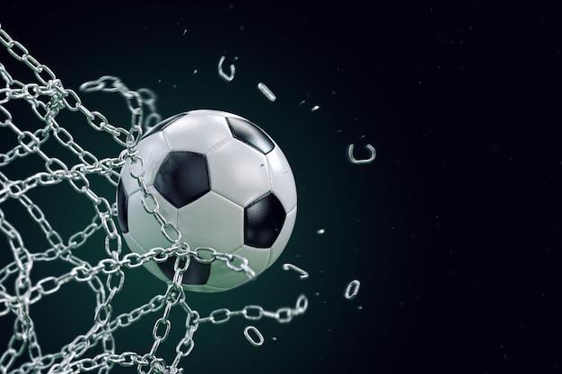 Футбольный мяч, ломающий металлическую сетку