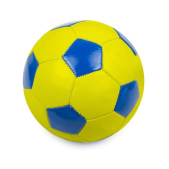 Soccer ball colored by flag of ukraine on white