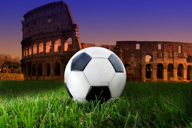 Soccer ball on the colosseum
