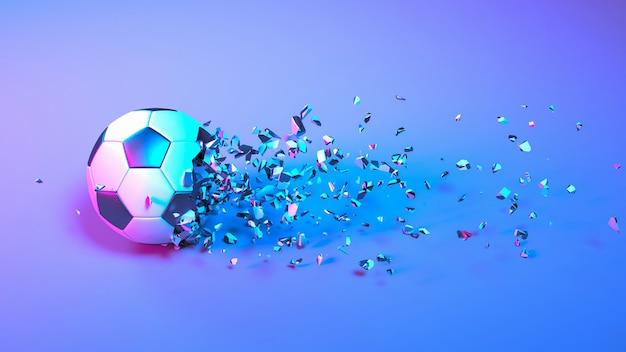 Футбольный мяч падает на мелкие кусочки в неоновом освещении, 3d иллюстрация
