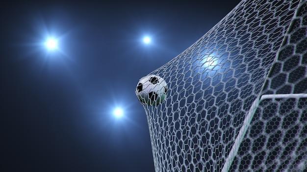 サッカーボールがゴールに飛んだ。
