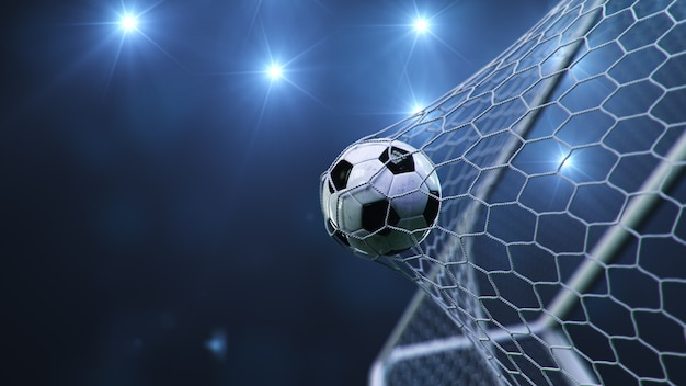 축구 공이 목표로 날아갔습니다.