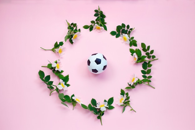 Soccer ball and flowers