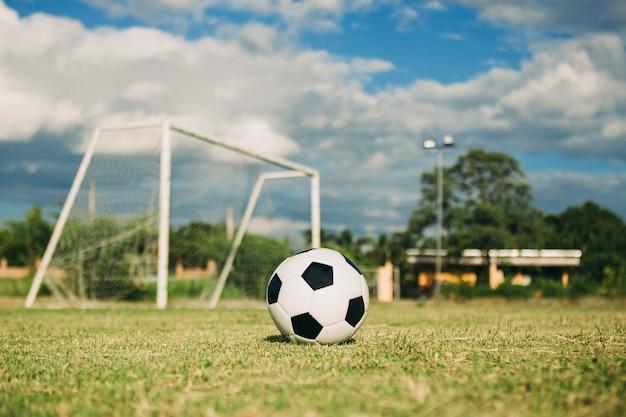 A soccer ball fon the green grass field