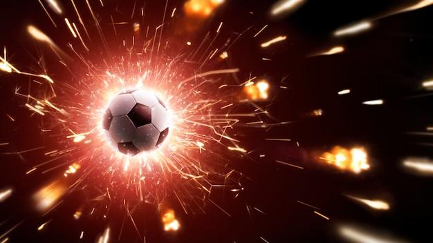 Футбольный мяч в лету. футбольный фон с огнем искры в действии на черном. панорама