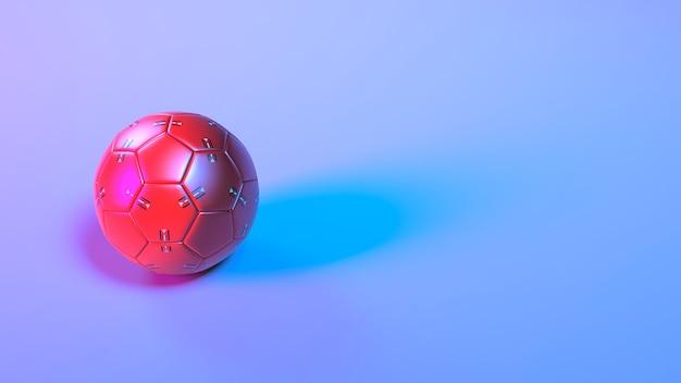 Футбольный мяч в неоновом освещении, 3d иллюстрация