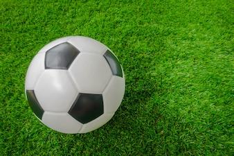 Soccer ball on green grass .