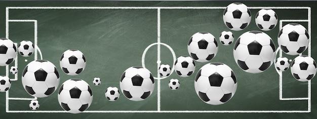 녹색 운동장에서 축구 공입니다. 축구 개념