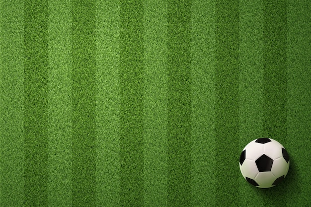 サッカー場の背景にサッカーボール