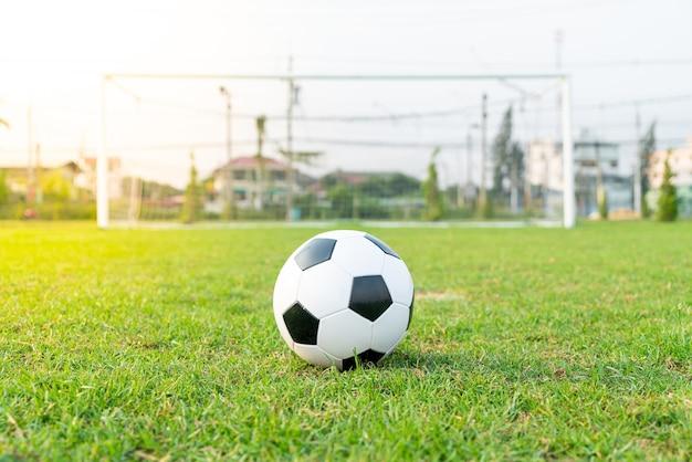 コピースペースとサッカー場の背景にサッカーボール