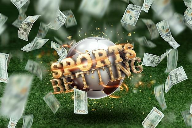 芝生の上のサッカーボールと碑文のスポーツ賭博。創造的な背景、ギャンブル。