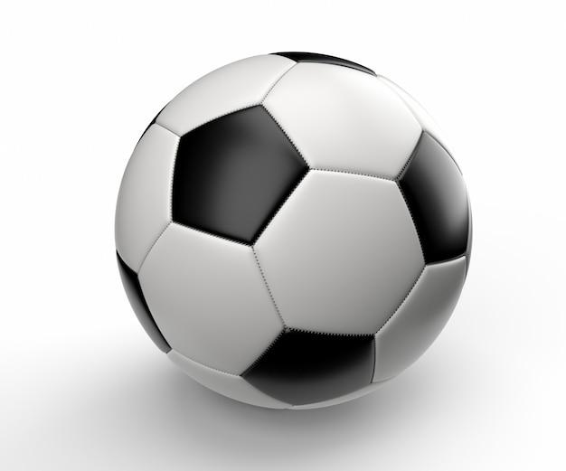 흰 벽에 축구 공입니다. 3d 렌더링 그림.