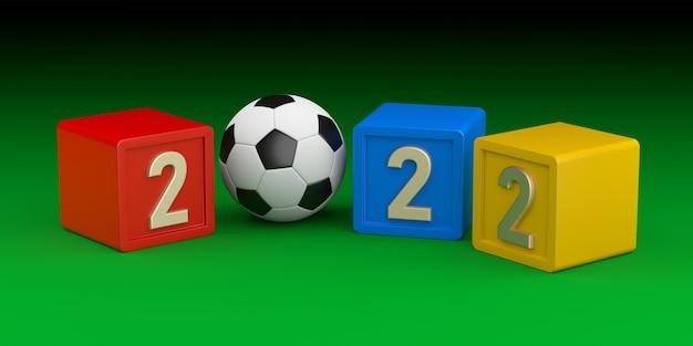 Футбольный мяч, представляющий в 2022 году. зеленый фон. 3d-рендеринг