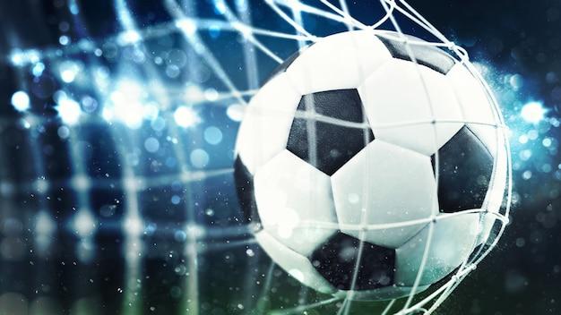 サッカーボールがネットdレンダリングでゴールを決める
