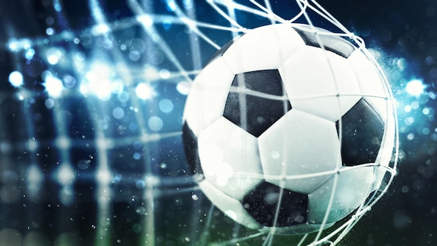 Soccer ball scores a goal on the net d rendering
