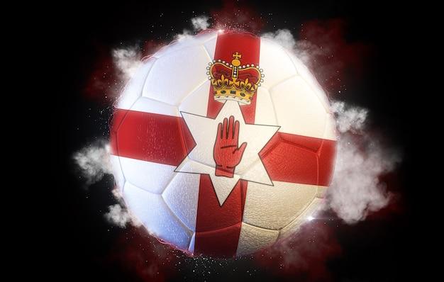 북아일랜드의 국기와 질감 축구공