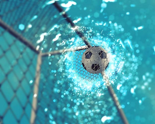 3d rendering di un calcio che va in rete con effetto scintilla
