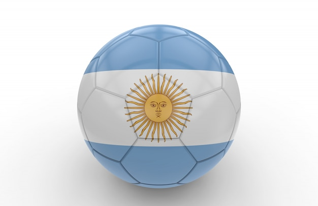 Soccer ball with argentina flag
