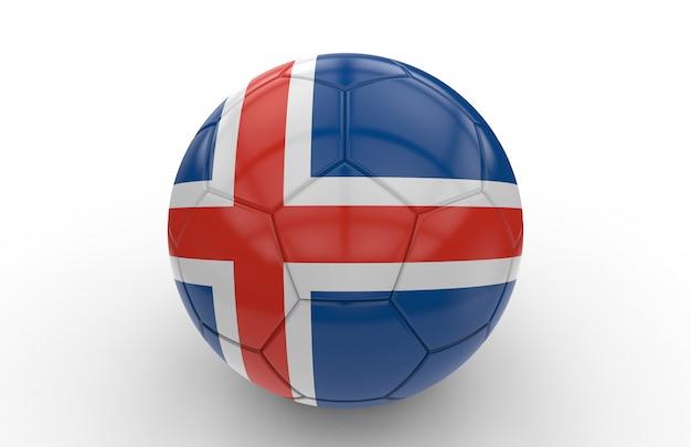 Soccer ball with icelandic flag
