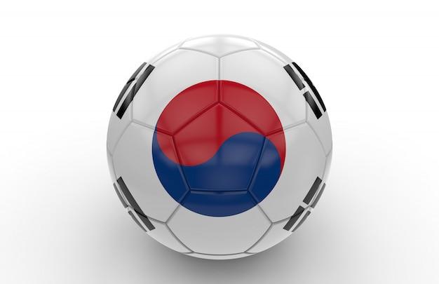 Soccer ball with south korea flag
