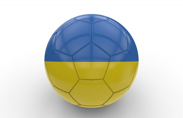 Soccer ball with ukrainian flag