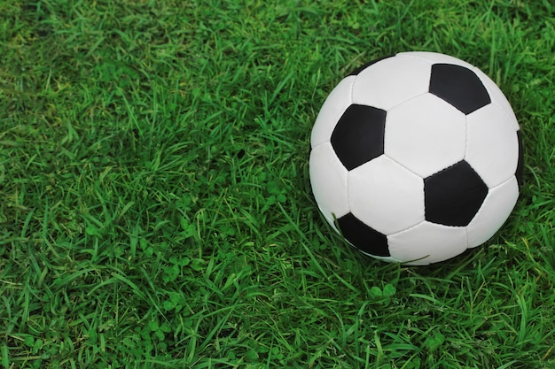 Soccer black and white ball on the green grass, top view. empty space for text on the left.