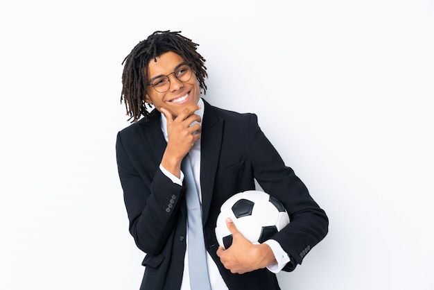 Soccer coach over isolated white wall