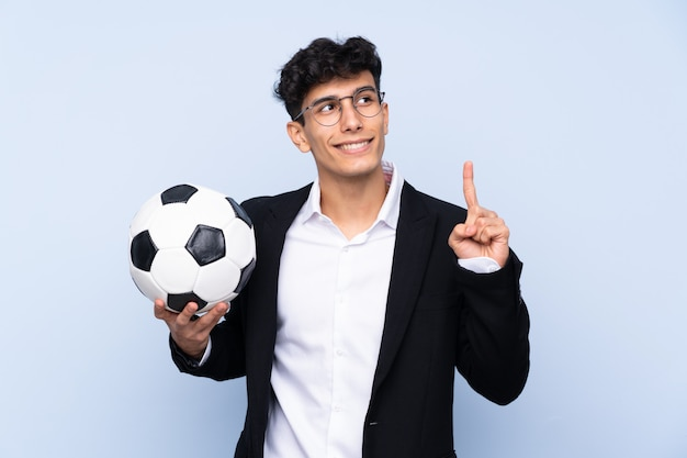 Soccer coach man over isolated wall