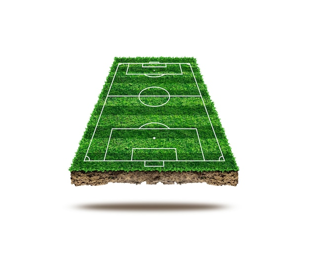 Soccer field area and isolate on background. green grass of soccer field