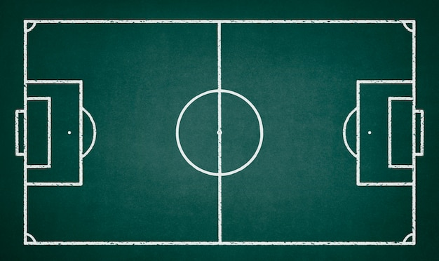 Soccer field drawn on a green chalkboard