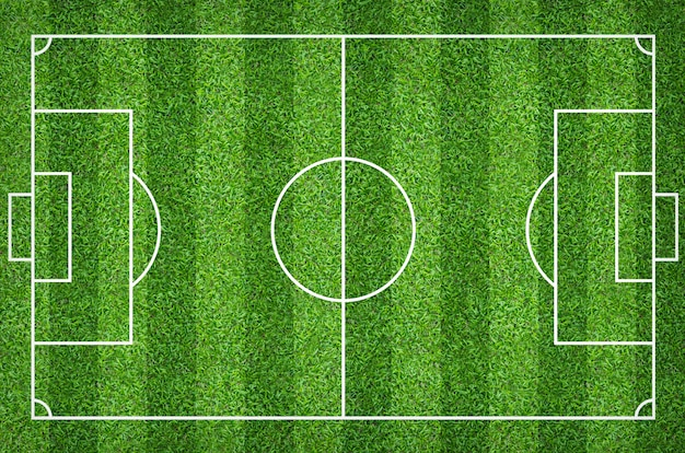 Soccer field or football field for background with green lawn court pattern.