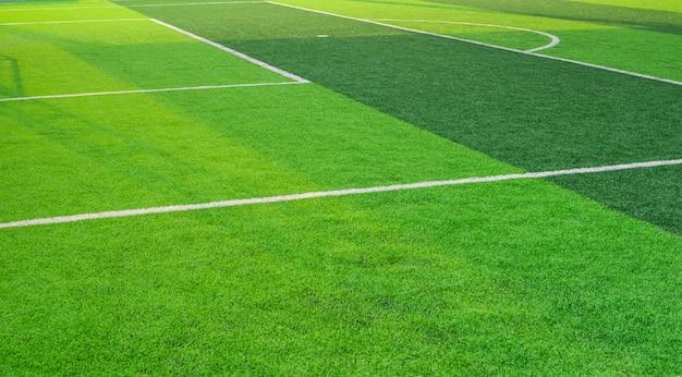 Soccer field grass conner.pattern of fresh green grass for football