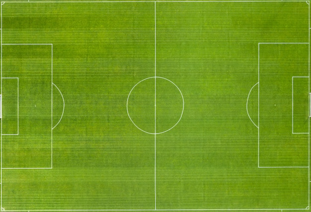 Soccer field with white markings. top view.