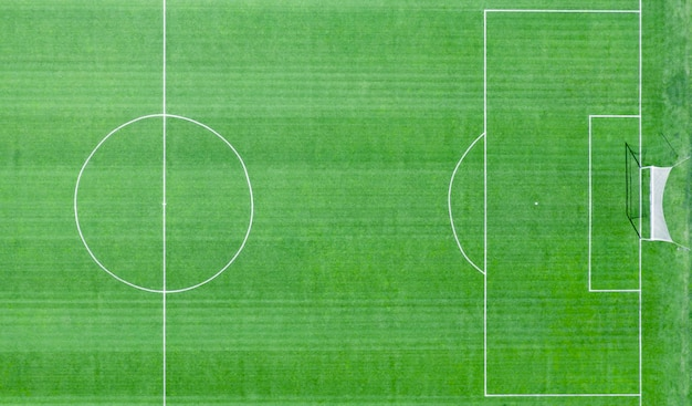 Soccer field with white markings
