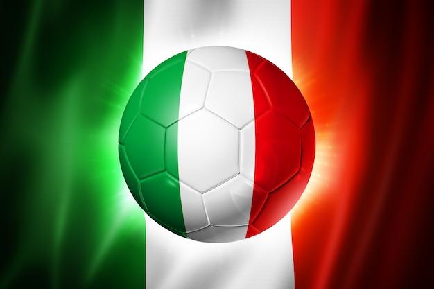 イタリアの国旗とサッカーサッカーボール