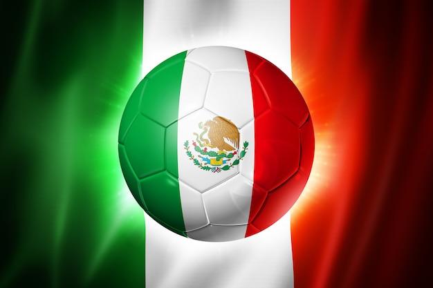 メキシコの国旗とサッカーサッカーボール