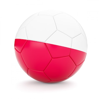 Soccer football ball with poland flag