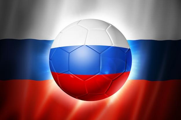 ロシア国旗とサッカーサッカーボール