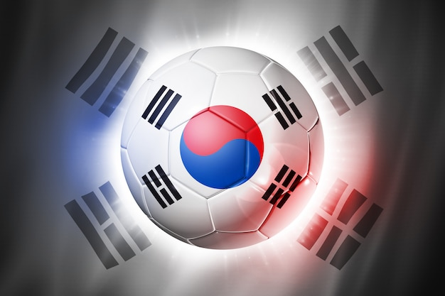 Soccer football ball with south korea flag