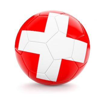 スイスの国旗とサッカーサッカーボール