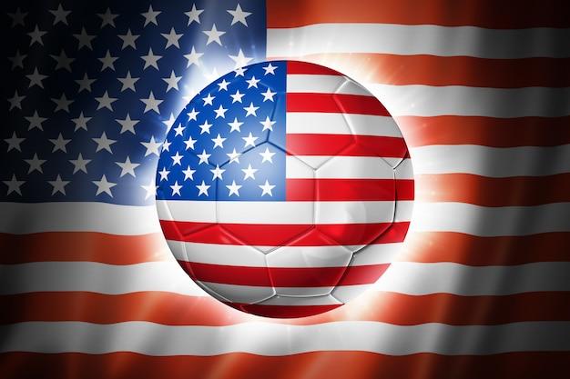 アメリカの国旗とサッカーサッカーボール
