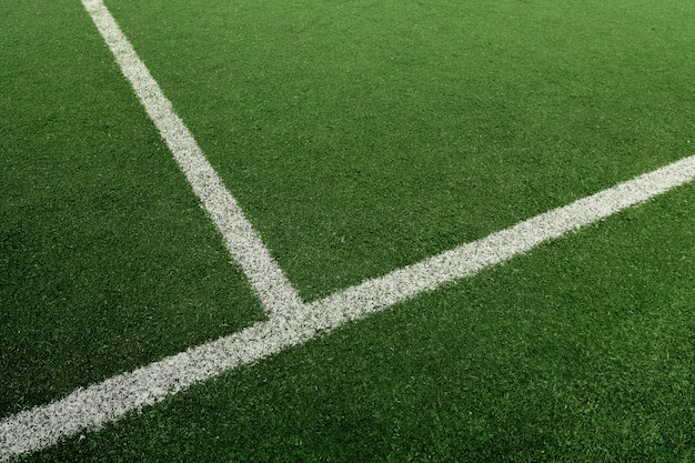 Soccer or football field with white line