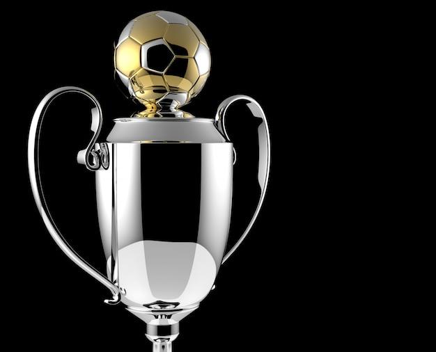 Soccer golden award trophy on black