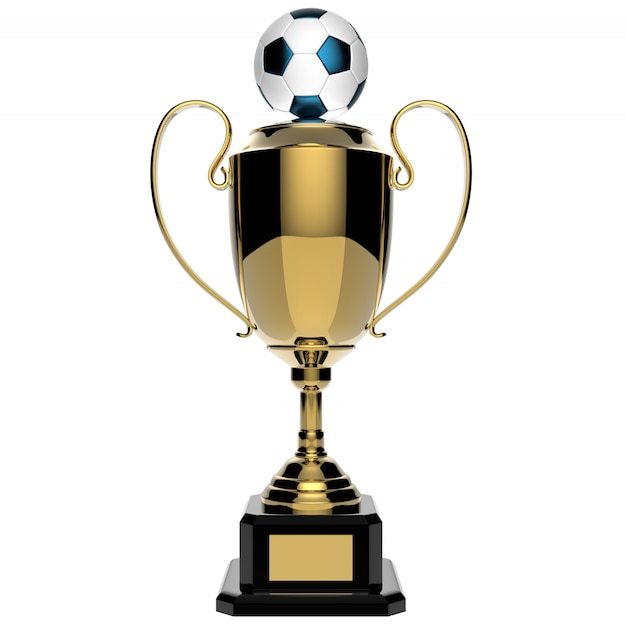 Soccer golden award trophy isolated on white with clipping path