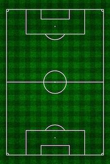 Футбол, футбольное поле или вид сверху с правильной разметкой и пропорциями в соответствии со стандартами