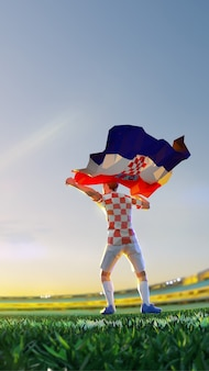 Soccer player after winner game championship hold flag of croatia. polygon style