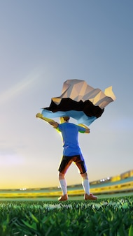 Soccer player after winner game championship hold flag of estonia. polygon style