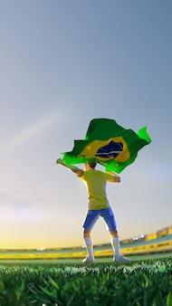 Футболист после чемпионата по игре победитель держит флаг бразилии. стиль многоугольника
