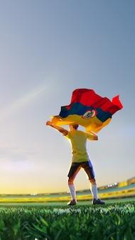 Футболист после чемпионата игры победителя держит флаг колумбии. стиль многоугольника